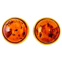 Be Jewelled Amber Round Stud Earrings Gold Cognac