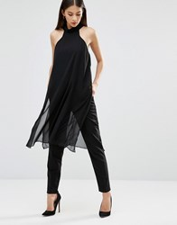 Ax Paris High Neck Chiffon Top Black
