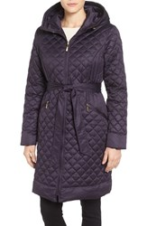 Ellen Tracy Women's Hooded Belted Down Coat Plum