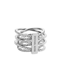 Michael Kors Crystal And Steel Criss Cross Ring Silver