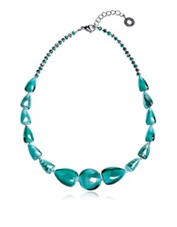 Antica Murrina Veneziana Marina 2 Basic Turquoise Green Murano Glass And Silver Leaf Choker