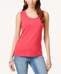 Karen Scott Cutout Tank Top Only At Macy's Peony Coral