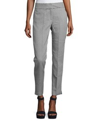 Catherine Malandrino Dot Print Slim Ankle Pants White Blue