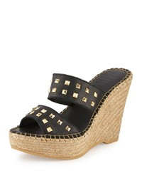 Andre Assous Bally Studded Leather Wedge Sandal Black