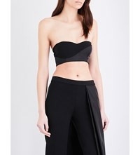 Caitlin Price Bandeau Crepe And Satin Cropped Top Black