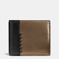 Coach Rip And Repair Compact Id Wallet In Sport Calf Leather Fatigue Black