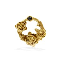 Lee Renee Black Diamond Rose Halo Lapel Pin Gold Neutrals Gold Black