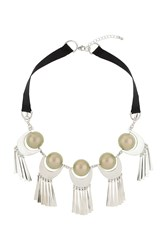 Topshop Pearl Tassel Necklace Green