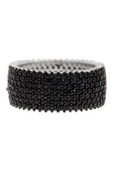 Sterling Silver Black Spinel Pave Eternity Band Ring White