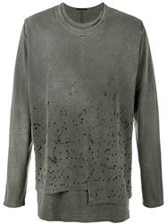 The Viridi Anne Distressed Long Sleeve T Shirt Grey
