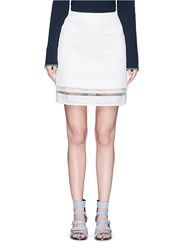 Msgm Sheer Hem Cotton Jacquard Skirt White