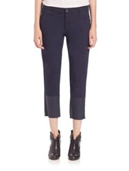 Ag Jeans Tristan Cropped Coated Ankle Trousers Blocked Leatherette Blue Night