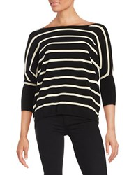 Essentiel Antwerp Striped V Back Boatneck Sweater Black White
