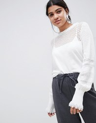 Suncoo Knitted Balloon Sleeve Top Blanc Casse White