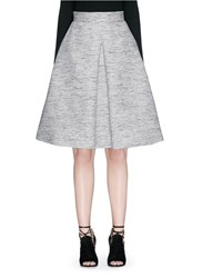Alexander Mcqueen Inverted Box Pleat Tweed Flare Skirt Grey