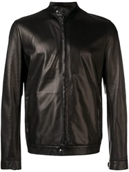 Salvatore Santoro Zipped Up Leather Jacket Black