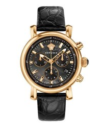 Versace 38Mm Day Glam Chronograph Watch W Leather Strap Black