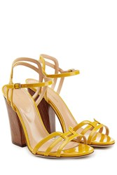Sergio Rossi Patent Leather Sandals With Wooden Heel Yellow