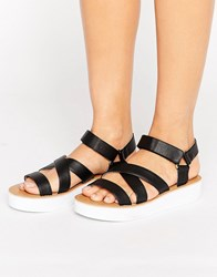 London Rebel Strap Detail Flatform Black