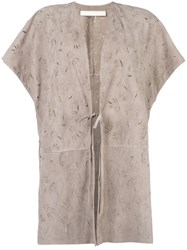 Drome Tied Fastening Shortsleeved Coat Nude Neutrals