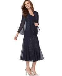 R And M Richards Sleeveless Beaded V Neck Dress And Jacket Navy