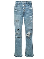 Amiri Crystal Studded Straight Jeans Blue