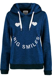 Zoe Karssen Big Smiles Embroidered Cotton Blend Hooded Top Bright Blue