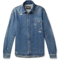 Mcq By Alexander Mcqueen Distressed Denim Shirt Indigo