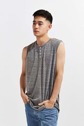 The Narrows Henley Muscle Tee Charcoal