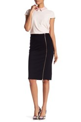 Catherine Malandrino Zipper Trim Midi Skirt Black