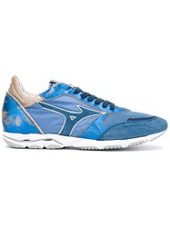 Mizuno Wave Sirius Sneakers Men Cotton Leather Polyester Rubber 45 Blue