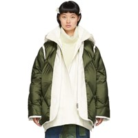 Sacai Khaki And Off White Down Jacket