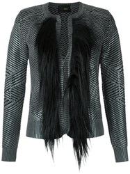 Andrea Bogosian Fur Detail Knit Cardigan Women Spandex Elastane Viscose Calf Hair M Grey