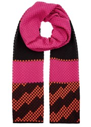 M Missoni Colour Block Honeycomb Knit Scarf Pink