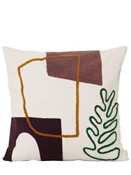 Ferm Living Leaf Mirage Cotton Canvas Pillow Multicolor