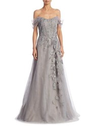 Rene Ruiz Off The Shoulder Full Length A Line Gown Grey