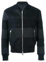 Ami Alexandre Mattiussi Striped Bomber Jacket Black