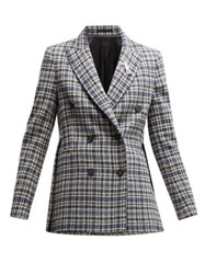 Golden Goose Checked Double Breasted Tweed Blazer Blue Multi