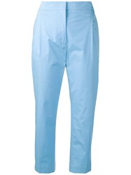 Joseph High Rise Cropped Trousers Blue