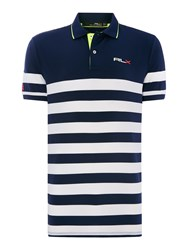 Rlx Ralph Lauren Stripe Pro Fit Polo Shirt Navy