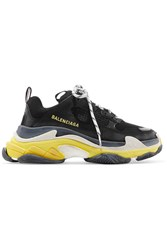 Balenciaga Triple S Logo Embroidered Leather Black