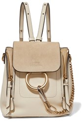 Chloe Faye Mini Leather And Suede Backpack Ivory