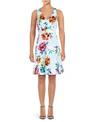 Adrianna Papell Marlowe Floral Printed Sundress Teal Multi