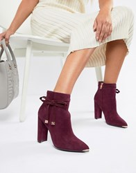 Ted Baker Burgundy Suede Heeled Ankle Boots With Bow Red