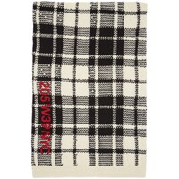Calvin Klein 205W39nyc Off White And Black Embroidered Blanket Scarf