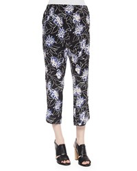 Thakoon Floral Print Cropped Silk Pants Black Multi