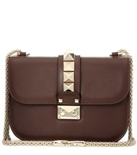 Valentino Lock Small Leather Shoulder Bag Brown