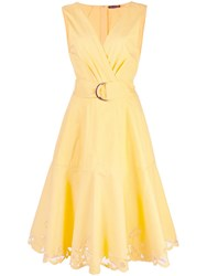 Josie Natori Lace Hem Midi Dress Yellow