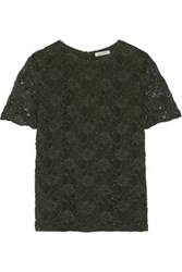 Nina Ricci Stretch Cotton Blend Lace Top Army Green