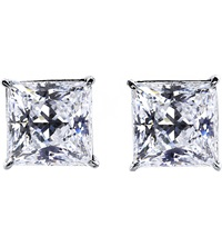 Carat Princess 0.5Ct Solitaire Stud Earrings White